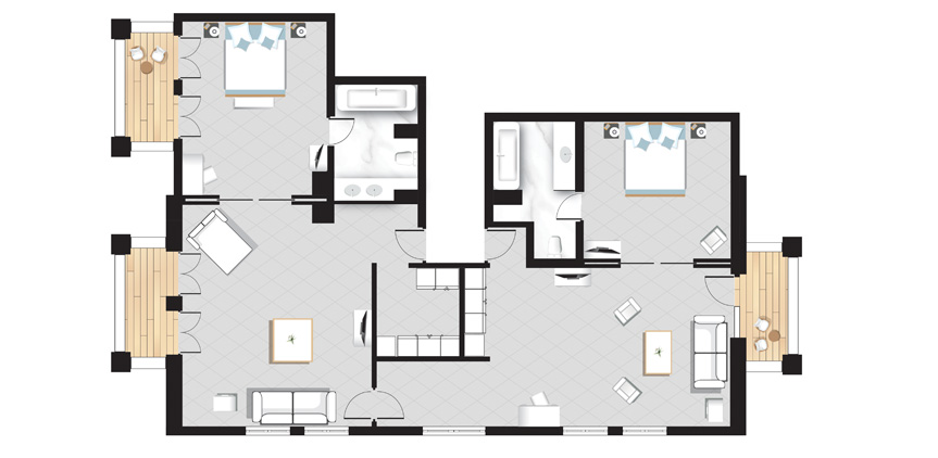 Suite-Mandola-2-bedroom-Mandola-Rosa-floorplan